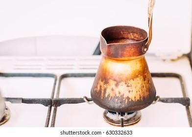 Turkish coffee brewing pot