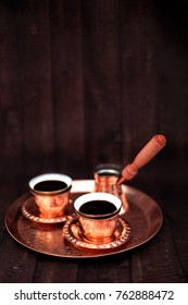 Turkish coffee on oriental traditional tray, two cups. Albanian style souvenir.