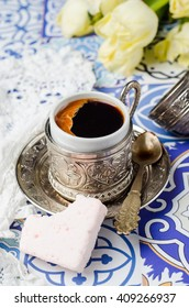 turkish coffee on ornament background. selective focus