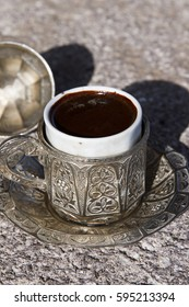 Turkish Coffee on stone marble Table with foams