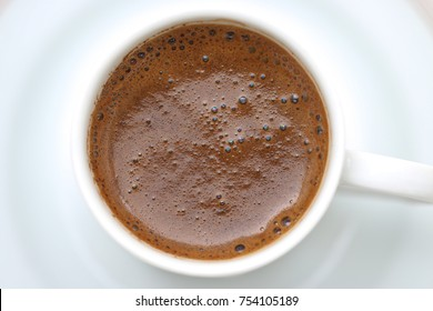 Turkish coffee on white background. Top view.
