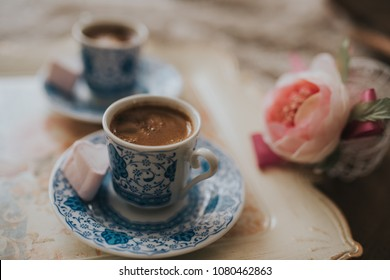Turkish Coffee on wood table with retro colors.
