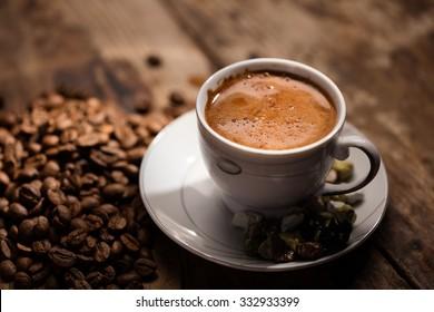 Turkish Coffee on wood table.