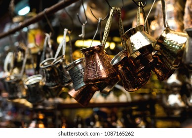 Turkish coffee pots, also know as ibrik, cezve, and briki in a street maket