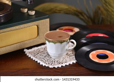 Turkish coffee and record player