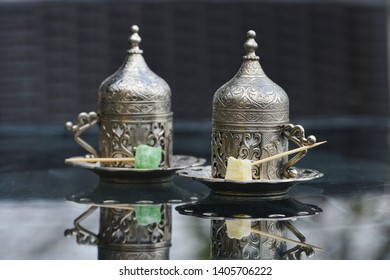 Turkish coffee served in traditional coffee pots