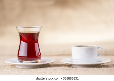 Turkish coffee and tea are together