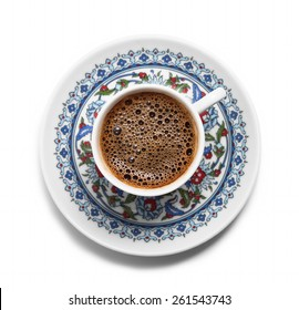 Turkish coffee top view
