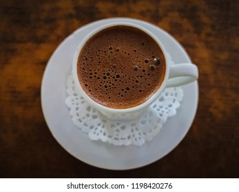 Turkish coffee in white cup