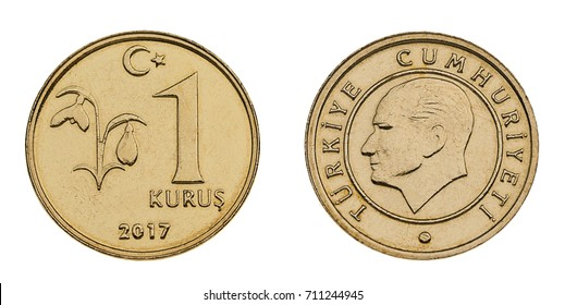 Turkish coin currency one Kurus made of 2,20 gram copper zinc alloy (brass) isolated on white background.