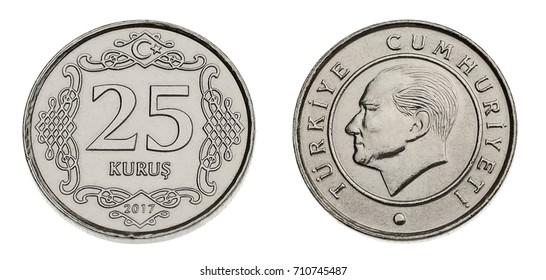 turkish coin currency twenty five kurus made of 4 gram nickel and copper zinc alloy both