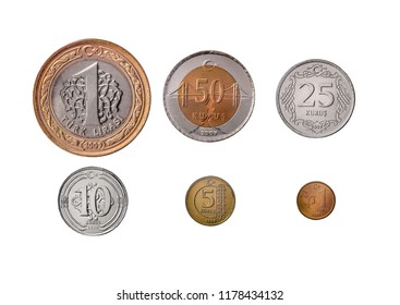 Turkish Coins on white background