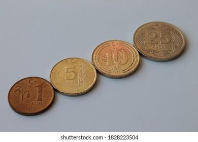 Turkish coins on a white background. Turkish lira.