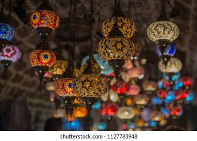 Turkish colorful mosaic lamp - oriental traditional light
