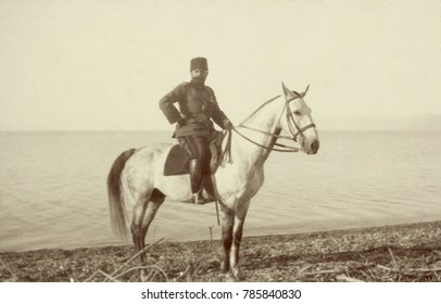 Turkish commander Cemal Pasha, on the shore of the Dead Sea, May 3, 1915. He led the Ottoman Empire army against British forces in Egypt during WW1.