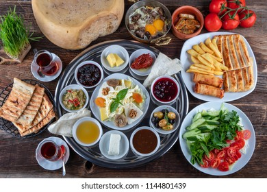 Turkish cuisine delicious breakfast served on table.