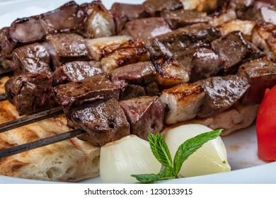 Turkish cuisine delicious ciger skewer