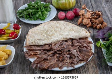Turkish Cuisine Doner. Shawarma Beef Turkish traditional doner on wooden Plate concept