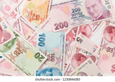 Turkish currency called Lira background.