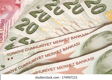 Turkish Currency, A close up of a pile of 20 Lira Notes.