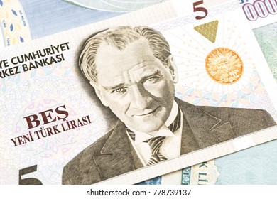 Turkish Currency, A close-up of a pile of 5 YTL Lira banknote.