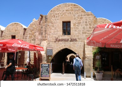 Turkish Cyprus - May 8, 2019: kumarcilar Inn in Nicosia is an ex caravanserai realized in 1700 with typical architectural style apt to host the caravans that passed