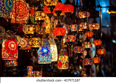 Turkish decorative lamps for sale on Grand Bazaar at Istanbul, Turkey