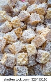Turkish delight, healthy cake,  Ratluk with flavor of walnut in wafer