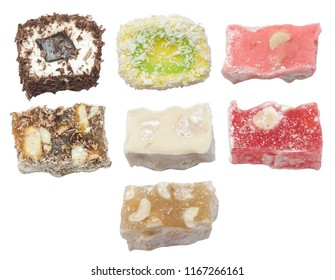 turkish delight isolated set on white top view