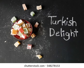 Turkish delight lokum on a blackboard