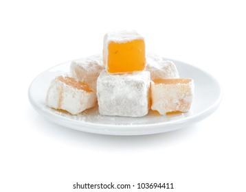 Turkish delight (lokum) on white background