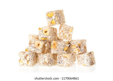Turkish delight lokum with pistachio nuts isolated on a white background