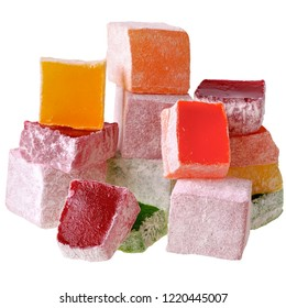 Turkish delight multicolored closeup isolated on white background.