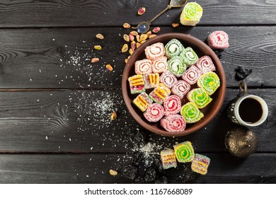 Turkish delight on a wooden table.