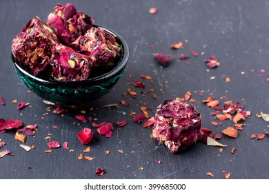 Turkish delight with rose leaves
