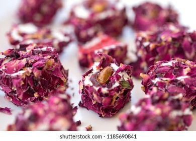 Turkish delight with rose leaves, lokum