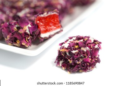 Turkish delight with rose petals, lokum