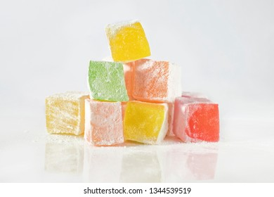 Turkish delight of various tastes on a white isolated background