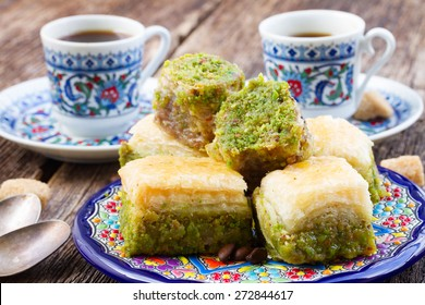 turkish delights - baklava swetts with coffee
