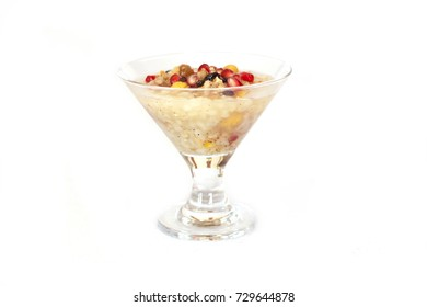 Turkish dessert Asure Ashure from the boiled cereals with dried fruits and pomegranate grains