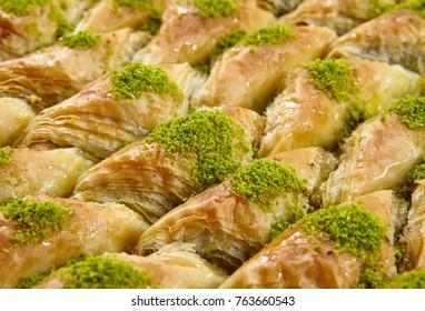 Turkish Dessert Baklava with concept background