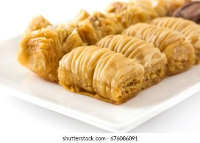 Turkish dessert baklava isolated on white background