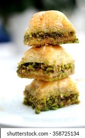 Turkish dessert baklava on plate