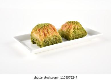 Turkish dessert Baklava with pistachio