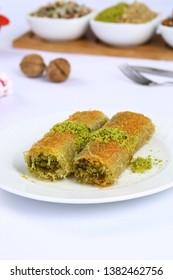 Turkish Dessert Kadayif with pistachio powder - Burma kadayif