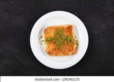 Turkish Dessert Kadayif with pistachio powder