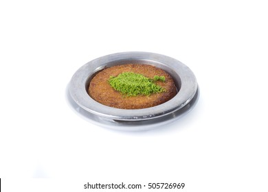 Turkish dessert kunefe with pistachio - Clipping path inside