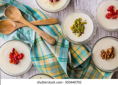Turkish Dessert Muhallebi / Homemade Pudding.