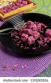 Turkish dessert piled in rose petals