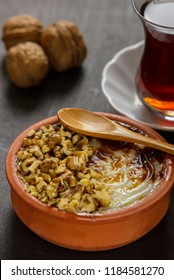 turkish dessert sutlac rice pudding with hazelnut powder